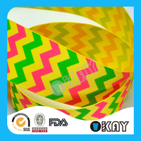 Wholesale Chevron 100% Polyester Grosgrain Printed Ribbon
