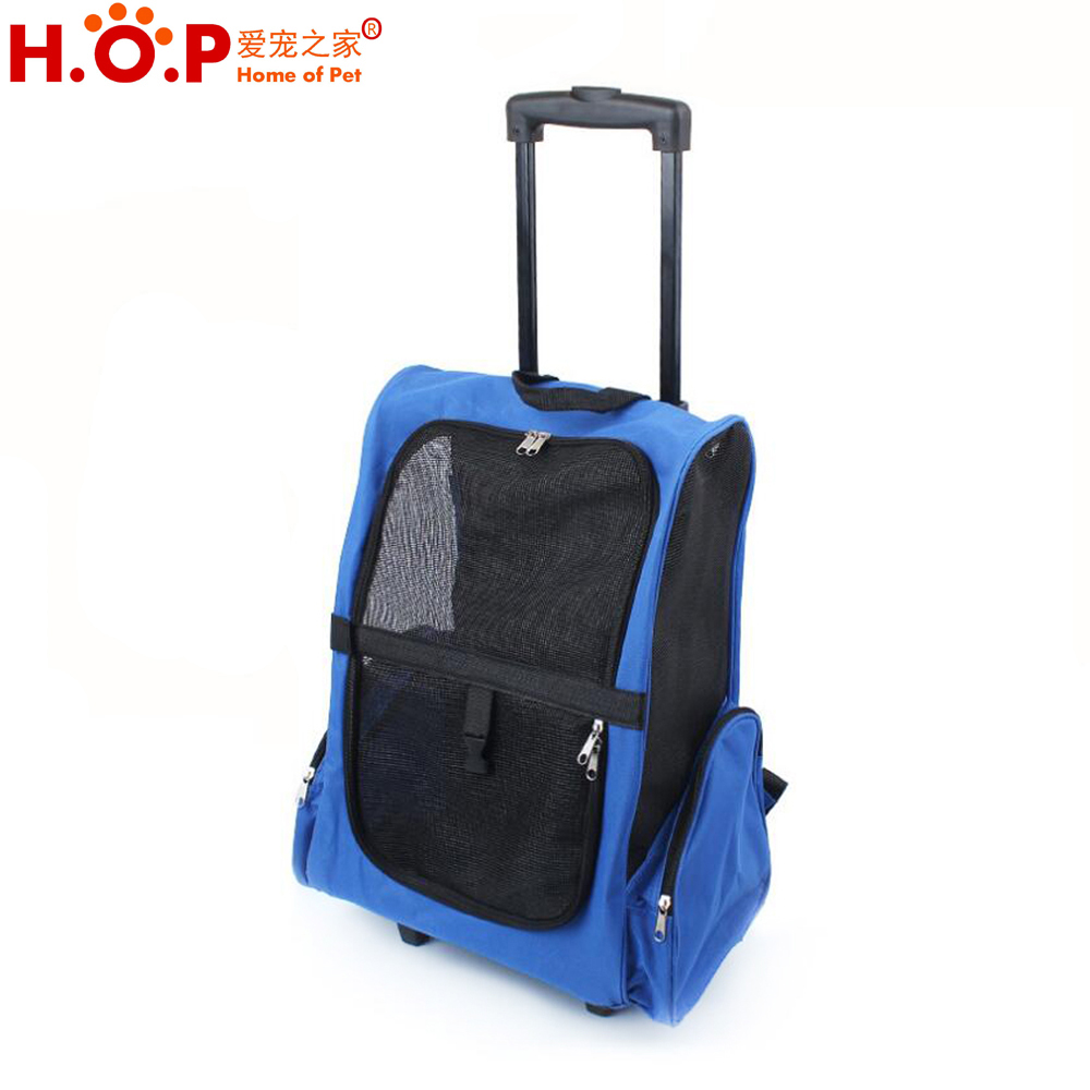 Cats/Dogs Oxford Carrier Backpack Travel Pet Trolley Rolling Bag, Trolley Pet Cat Dog Carrier Trolley Bag With Wheels