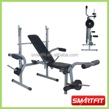 Foldable Weight Bench With Barbell And Plate Rack Portable
