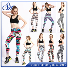 Wholesale TC plus size soft custom printed 92% polyester 8% spandex leggings for women