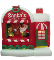 150cm/5ft inflatable santa claus on the house which is toy shop for christmas decoration