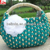 blue women straw bag