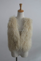 New Arrical 2016 Updating Knitted Short Vest and Tibet Sheep Fur Cream Color