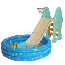 Newest colored Plastic indoor slide kids toys slide with inflatable ball pool for sale