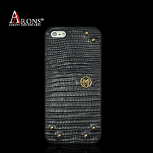 Smartphone leather back case cover luxury Lizard skin case for phone5/5s/SE
