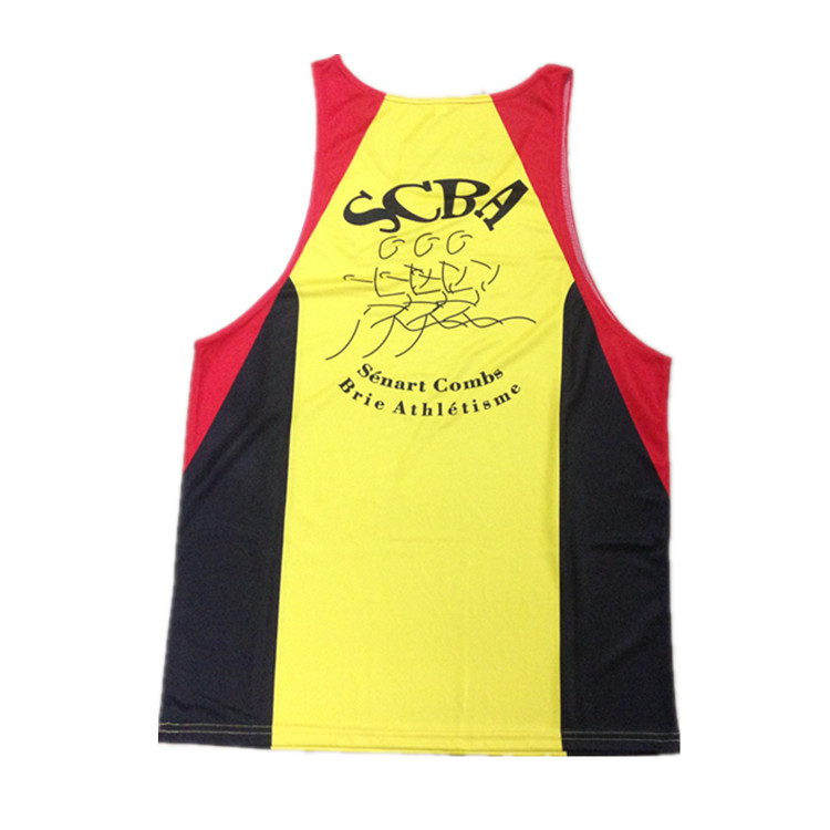 Wholesale sportswear quick dry sublimation coolmax custom singlet running vest