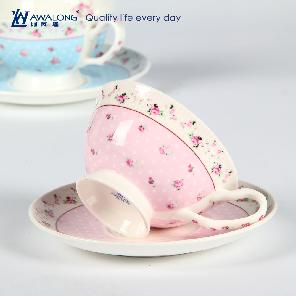 Mini European style floral ceramic cup and saucer turkish coffee cup set cup and saucer