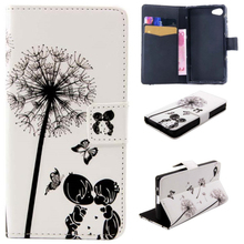 Colorful Printing Wallet Style Magnetic PU Leatehr Flip Stand case for Sony Z5 Mini, phone case wallet