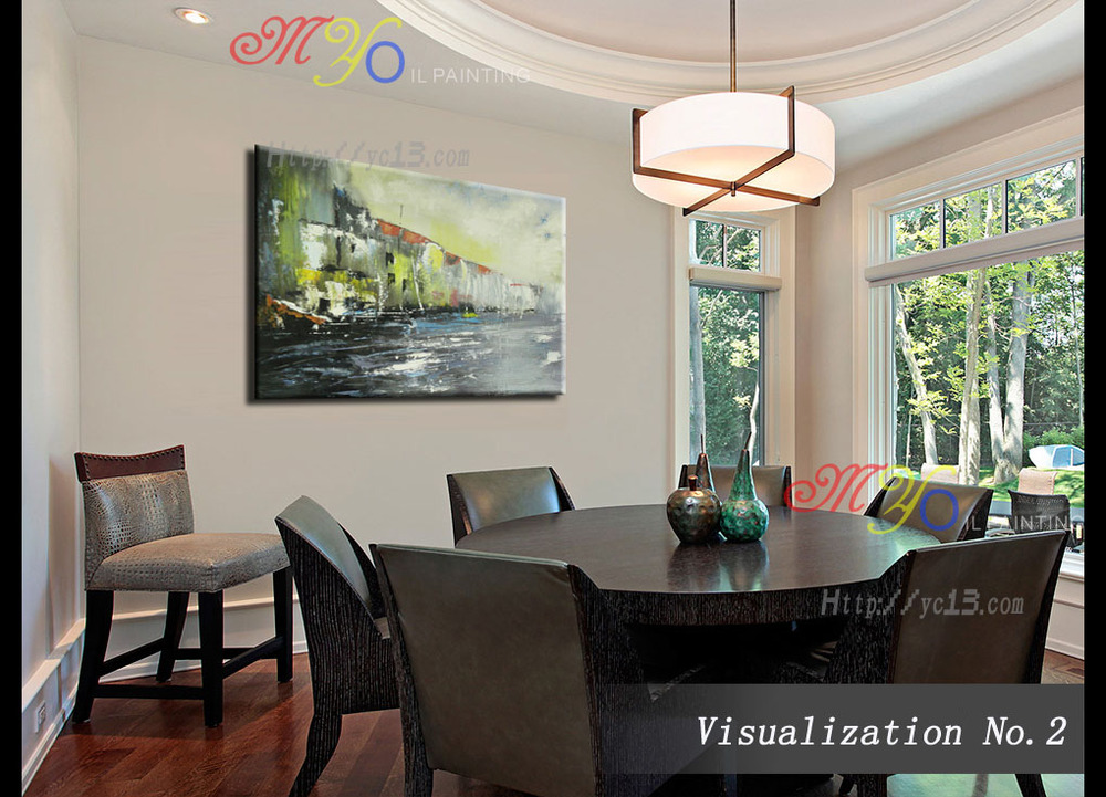 abstract city scenery wall art oil painting