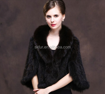 Factory direct supply knitted mink fur cape with fox fur trim