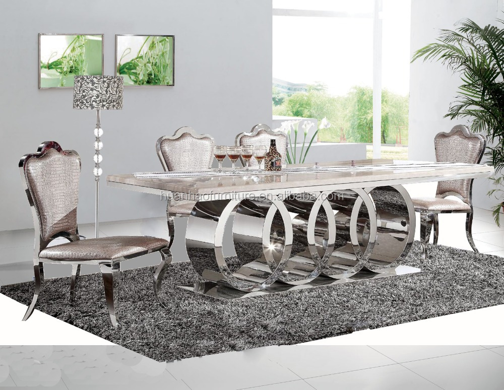 DH-1405 New design 10 seater marble top stainless steel leg dining table set