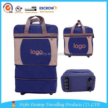 new style lager capacity luggage blue foldable travel trolley bag