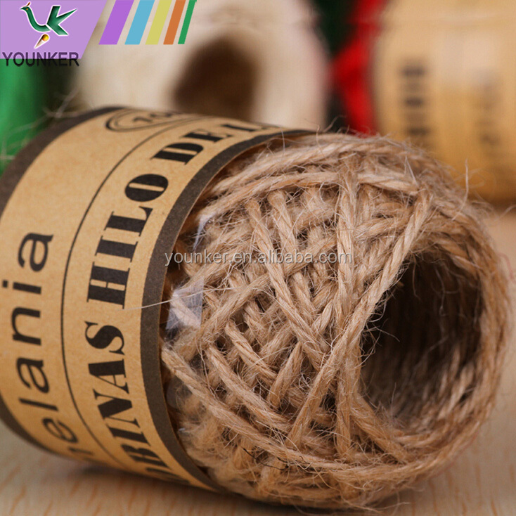 Hot sale three strands 2mm colorful art craft jute rope hemp rope