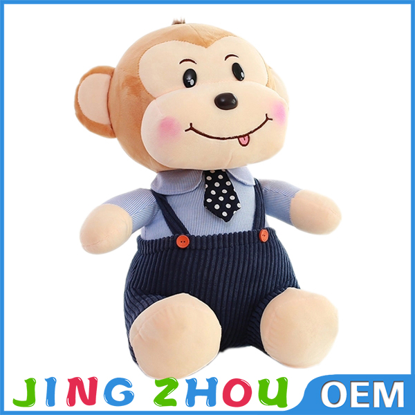 S/M/L beautiful promotional customized soft stuffed plush monkey animal toy with embroidered logo on belly & silk bow tie