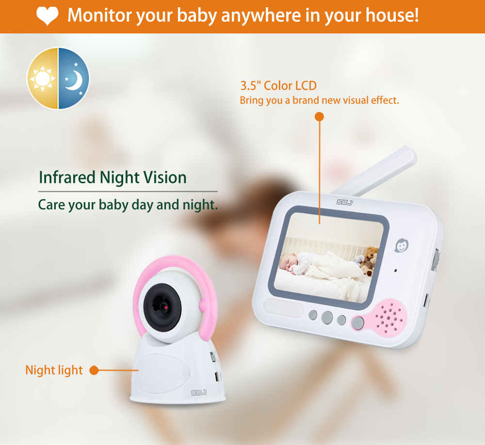 digital wireless 3.5 lcd camera monitor music vox night vision video baby monitor