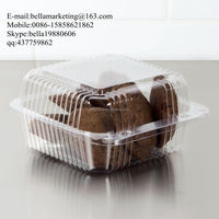 "Clear Hinged Plastic 6"" Square Container, Small clear plastic clamshell cake box"
