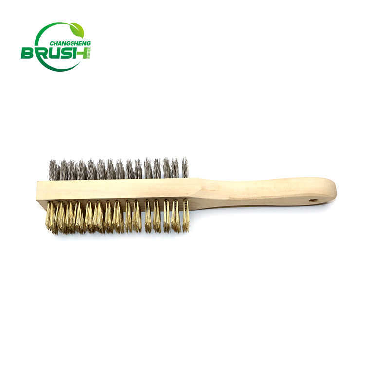 Trade assurance wooden handle steel wire brush for rust remove