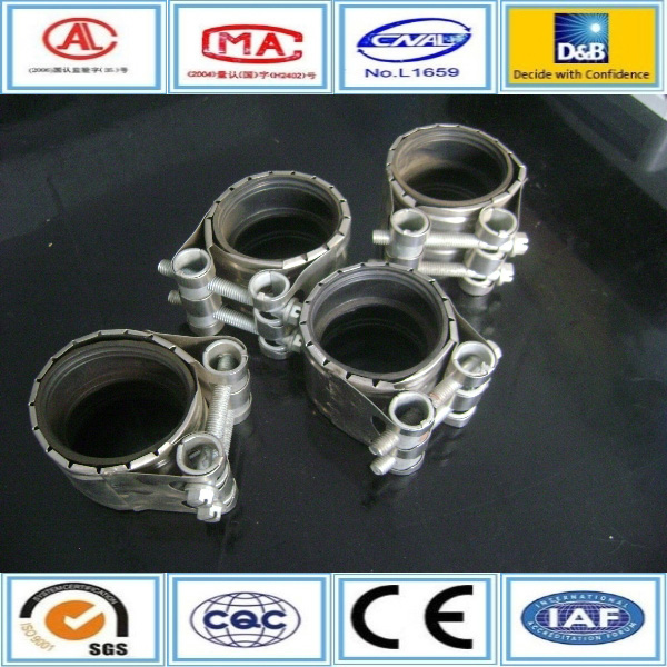 Double Bolt Pipe high pressure rubber lined stainless steel tube clamps