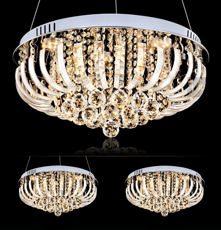 round k9 crystal led chandelier light
