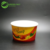Food Use and Cup Type 390ml disposable paper container bowl with Lids