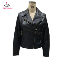Wholesale Turn Down Collar Black Faux Leather Lady Motocycle Jacket High Quality PU Leather Women Biker Jacket with Zipper