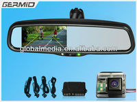 4.3inch rearview mirror monitor with autodimming,compass,parking sensor,temperature,reverse camera,PRNDL light