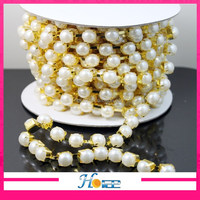 SS45 gold base rhinestone beaded chain roll pearls cup chain roll for sandals