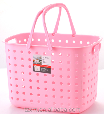 plastic home use laundry basket with handle