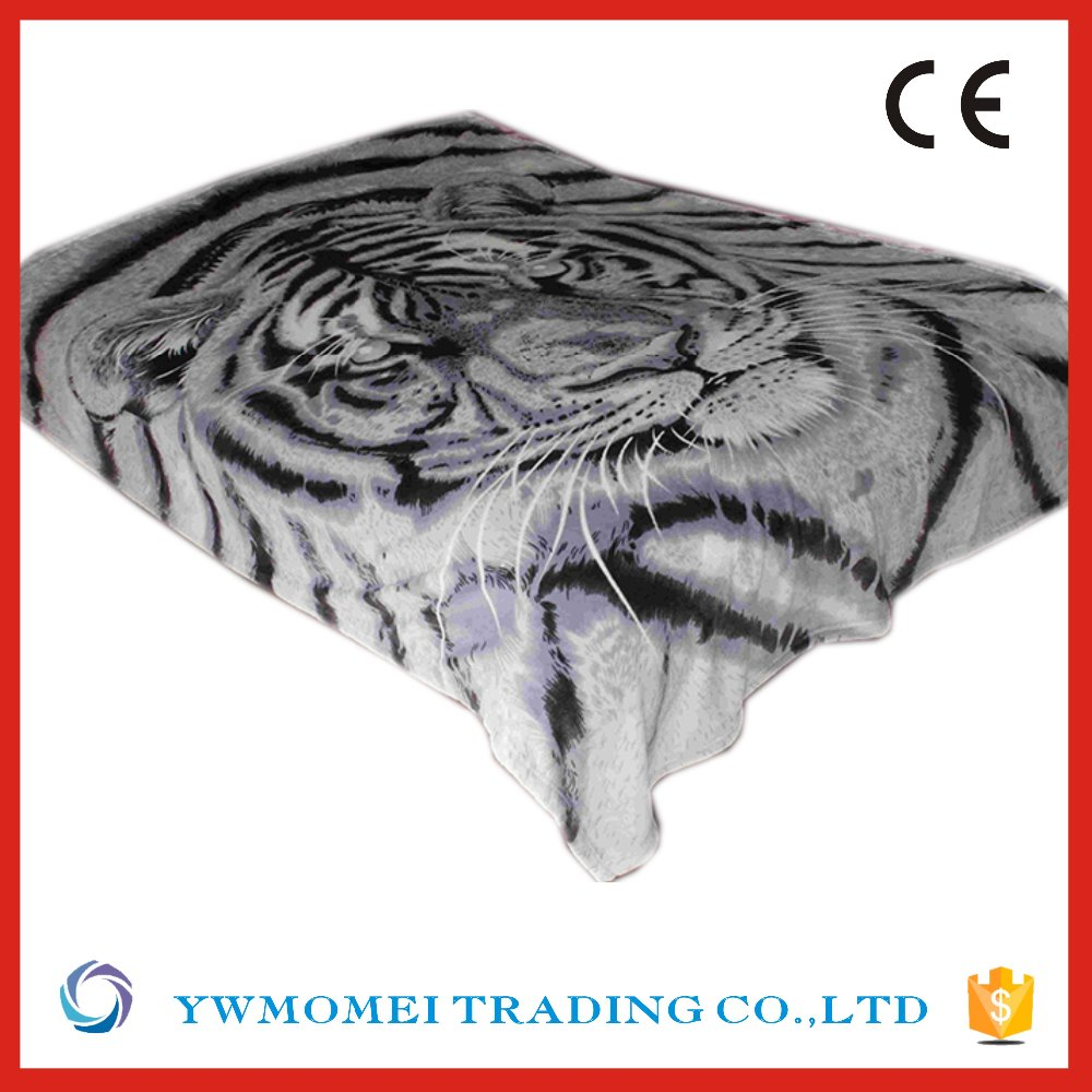 F22092 big tiger head pattern single size soft flannel softextile knitted blanket