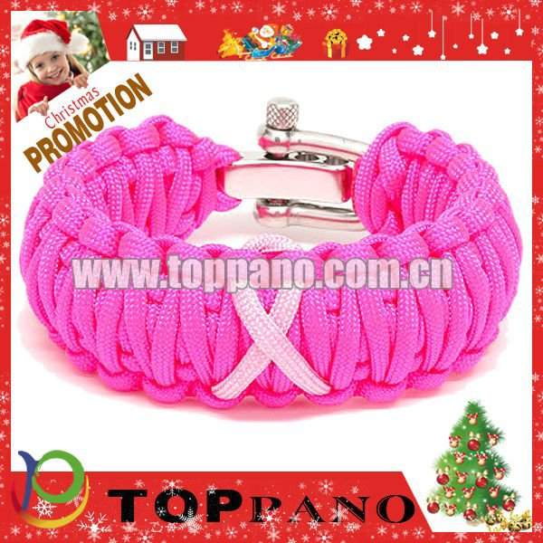 Hot sale fashion pink color paracord adjustable stainless steel shackle survival paracord bracelet