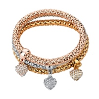 Fashion jewelry bracelet with rhinestone paved heart charm in three color