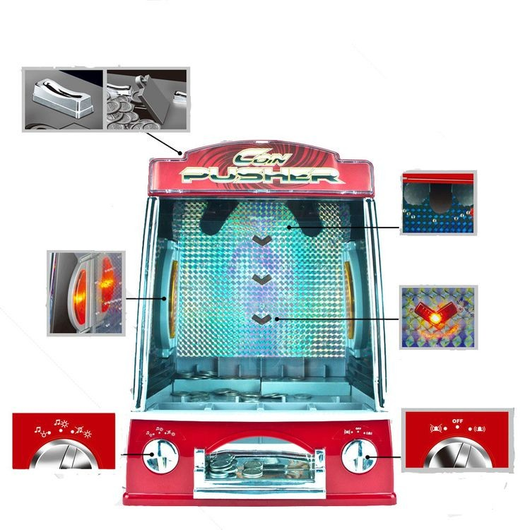 gm856-Mini Penny Pusher Coin Pusher Fairground Arcade Amusements Game Replica for Famile Children