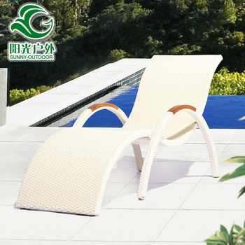 Hot Sale Used Hotel Pool PE Rattan Outdoor Lounge Chair