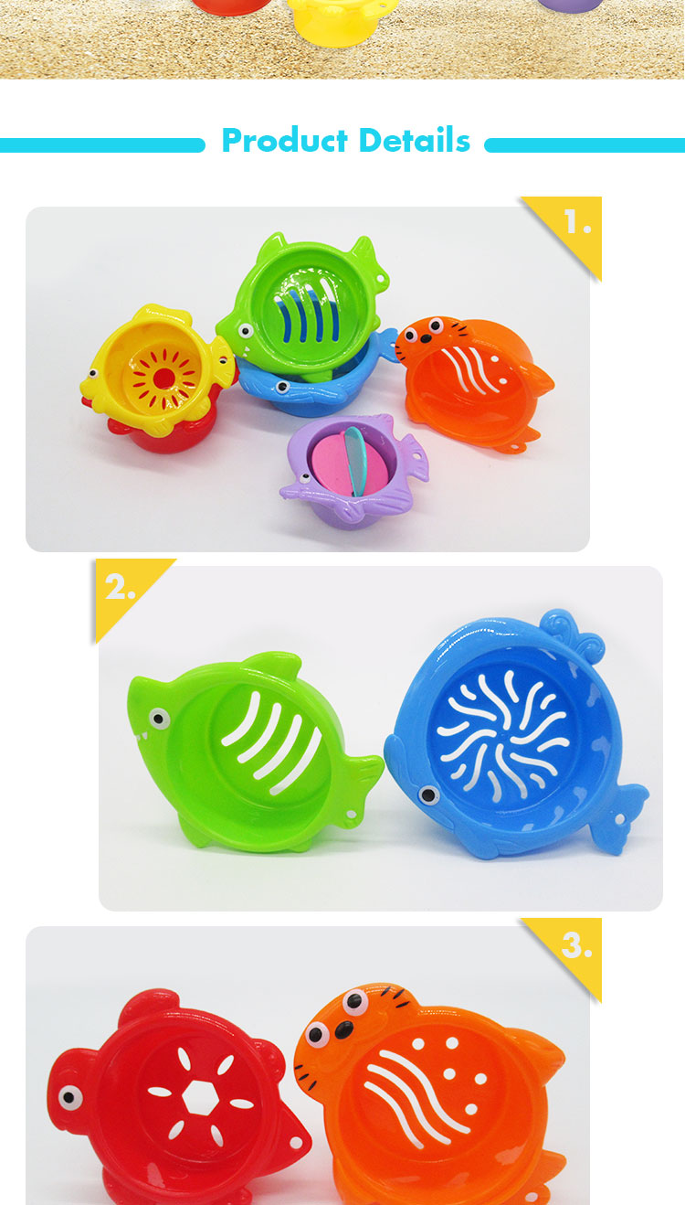 Kids Educational Stacking Cup 6 Animals Design Baby Bath Toys For Summer
