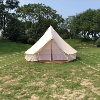 Outdoor Wholesale Cotton Canvas Bell Tent with Stove Jacket on the wall 3m 4m 5m 6m