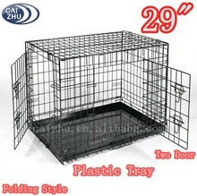 "30"" Black Folding Wire Pet Crate with Plastic Tray"