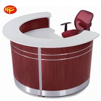 Wooden Curved Counter Table Design Half Round Reception Desk