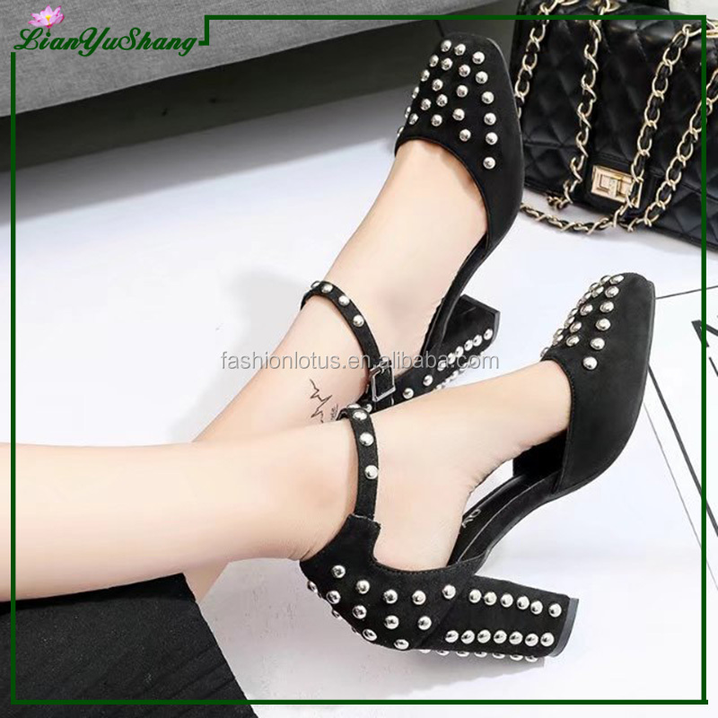 Women Lady Pointed Toe Thin 5-9cm High Heels Studded Rivets Stilettos Party Shoes
