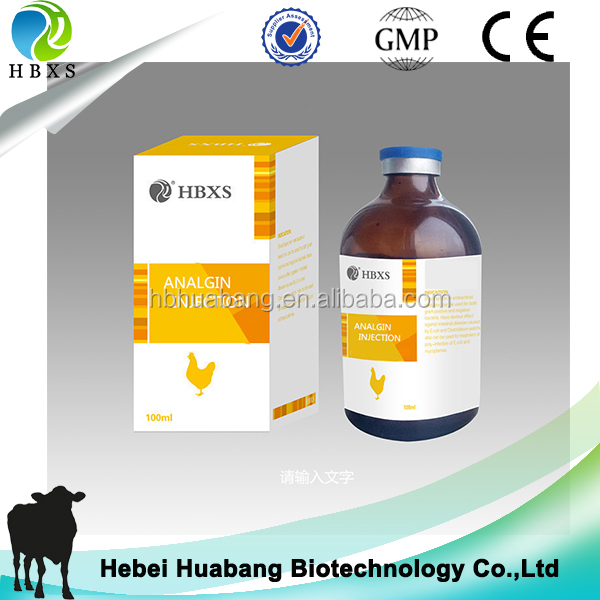 Factory GMP veterinary medicine cattle antipyretic analgesics drugs 30% 50% Analgin injection for livestock farming