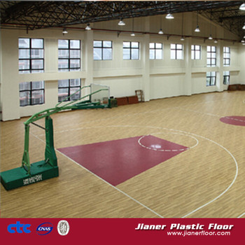 according to Professional Match regulation 8.0mm PVC vinyl Basketball floor
