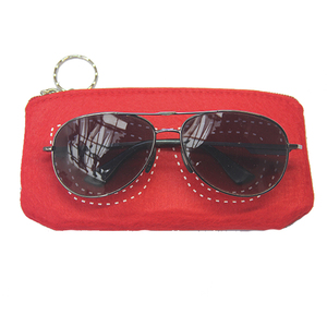 Custom printed logo sunglasses case felt microfiber glasses pouch