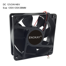 Enokay high quality double ball 12038 DC 12V 24V 48V 120MM 120 x 120 x 38 mm Cooling Fan