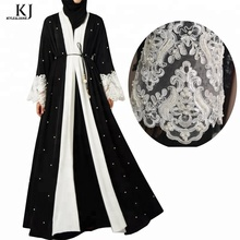 Fashion pear front open muslim latest design women wholesale black dubai new model kimono abaya