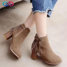 Wholesale Girls' High Heel Zip Tassel Pointed Ankle Boots