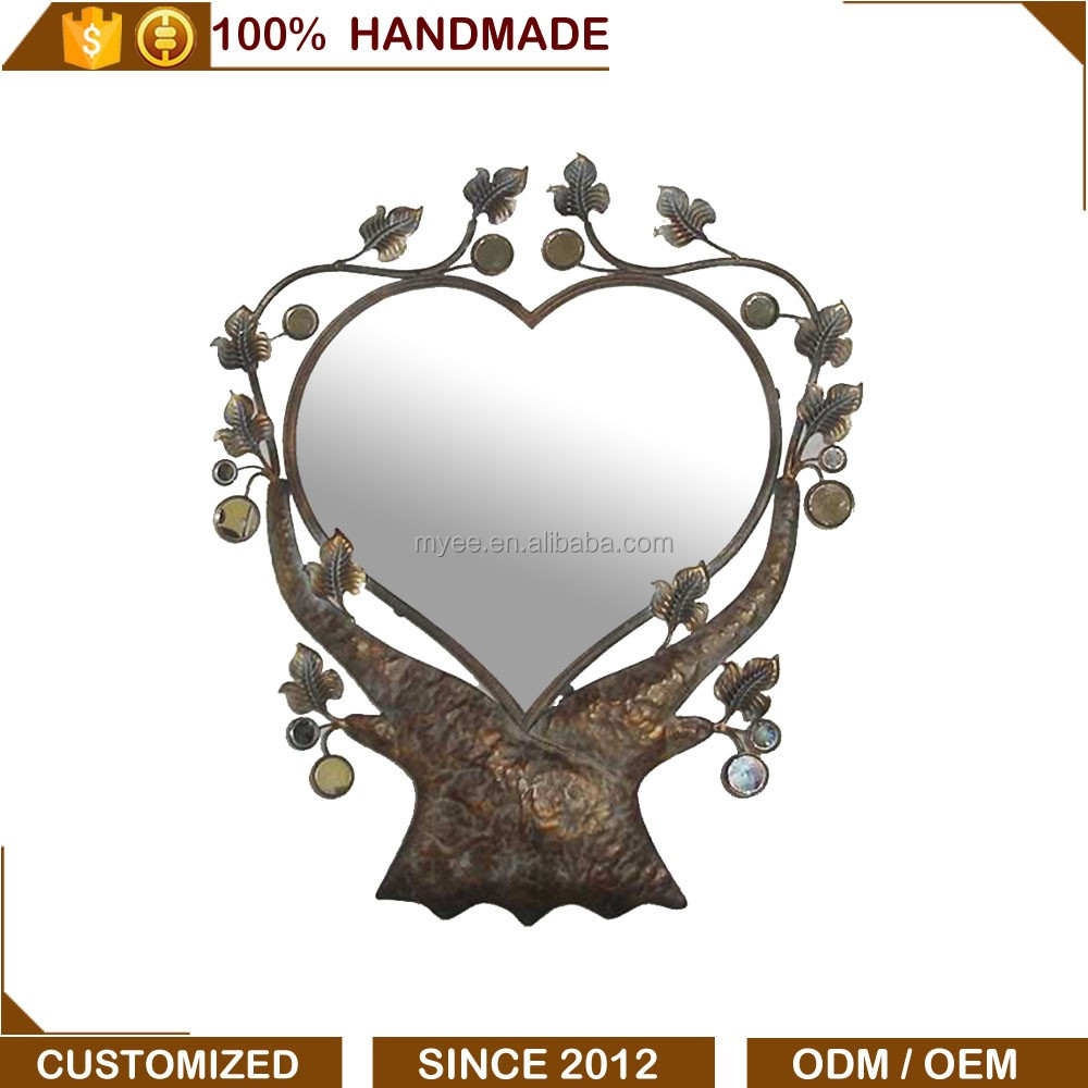 New elegant design heart tree shaped decorative wall metal mirror