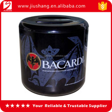 Branded logo black plastic round ice bucket with lid clear for beer
