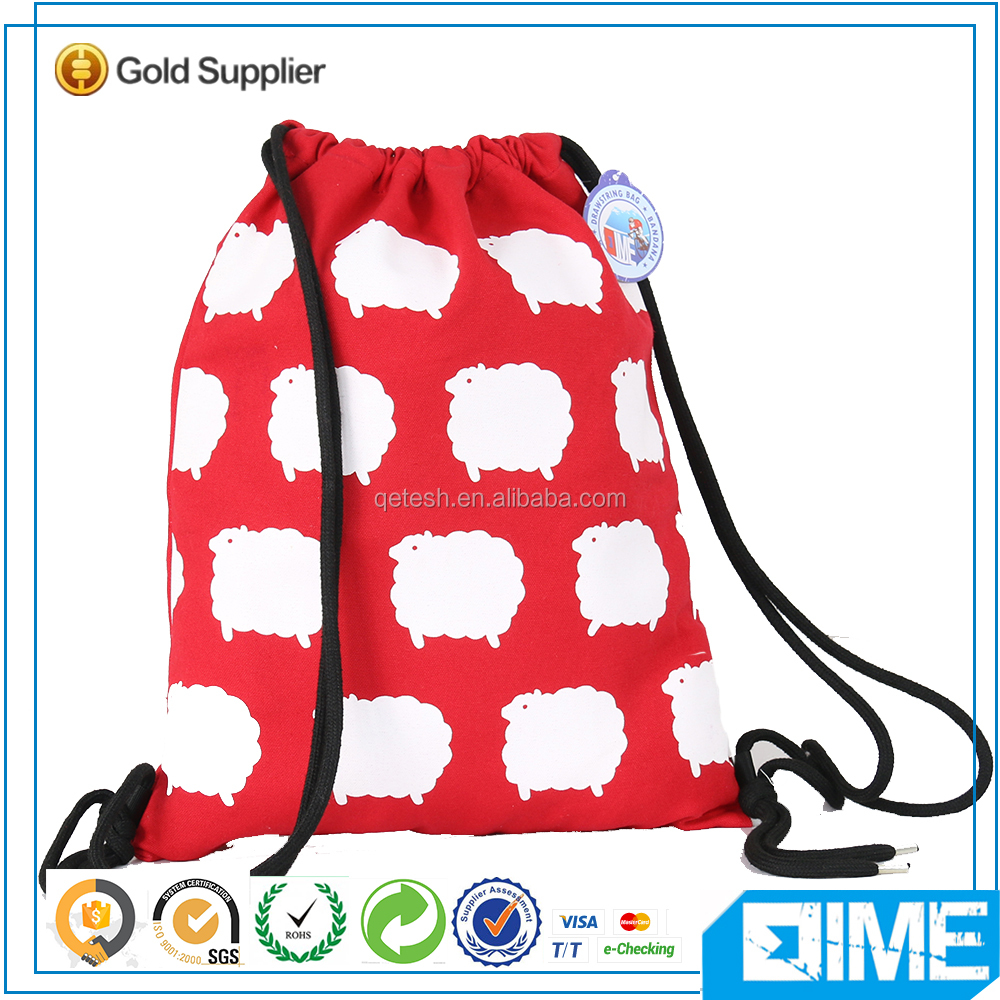 Carton Sheep cotton frozen reusable shopping drawstring bag