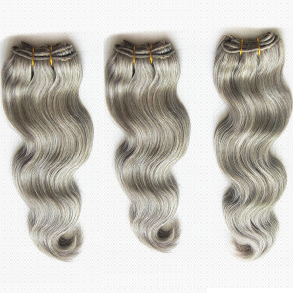 Factory hair wholesale top quality human hair extension last long virgin gray remy hair