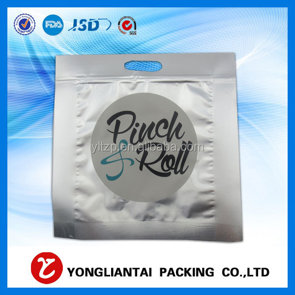 Custom printed snack food packaging bag/three side seal ziplock bag for candy with euro hole