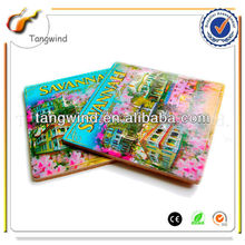 Travel souvenir paper printed glass coaster for Kitchen decoration TWC0847